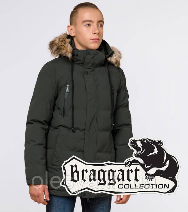 Braggart Youth | Зимняя куртка молодежная 25210 темно-зеленая