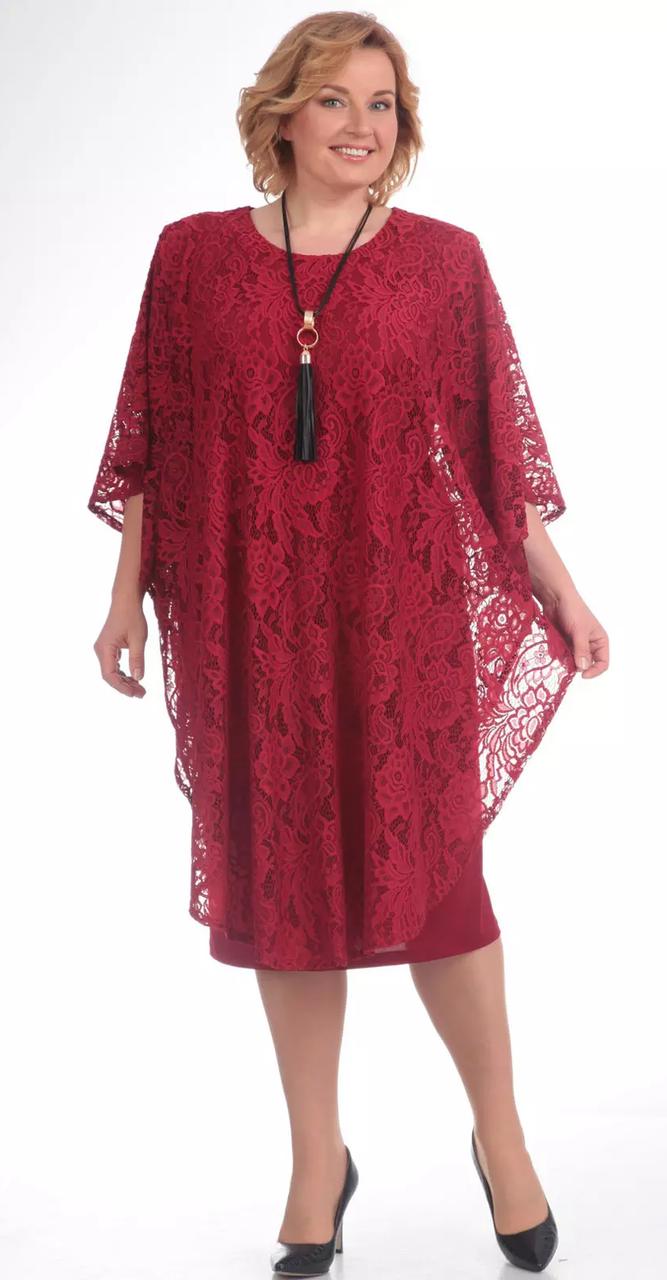 Платье Pretty-558/1 белорусский трикотаж, бордовый, 56
