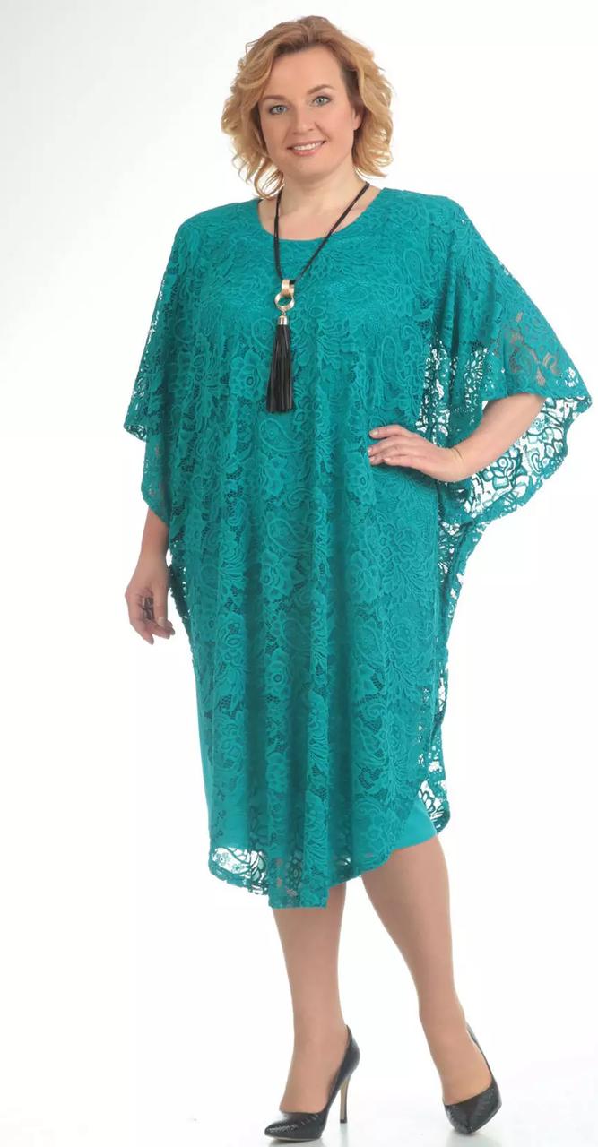 Платье Pretty-558/2 белорусский трикотаж, бирюза, 56