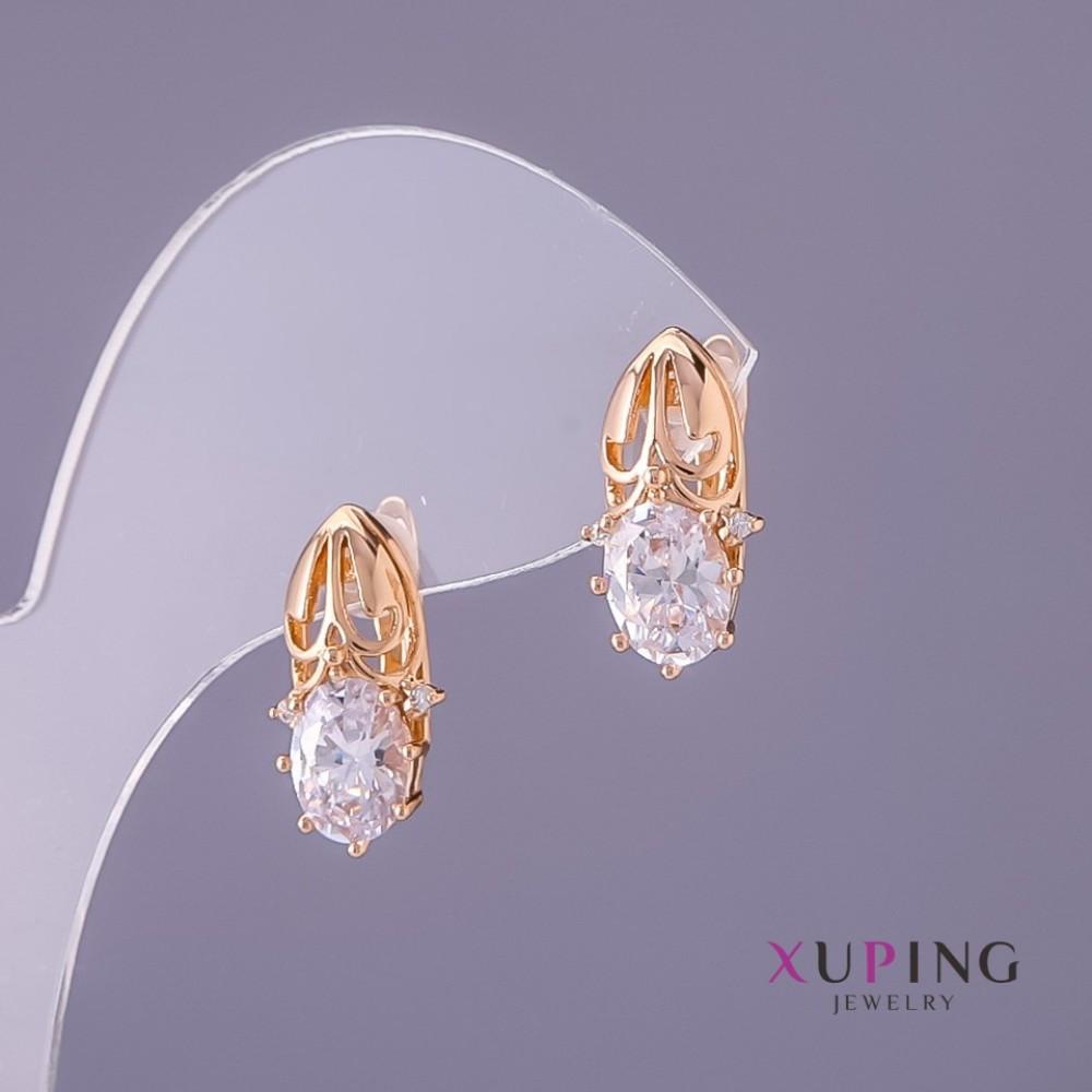Серьги Xuping белые камни, диаметр 8мм, длина 17мм цвет золото