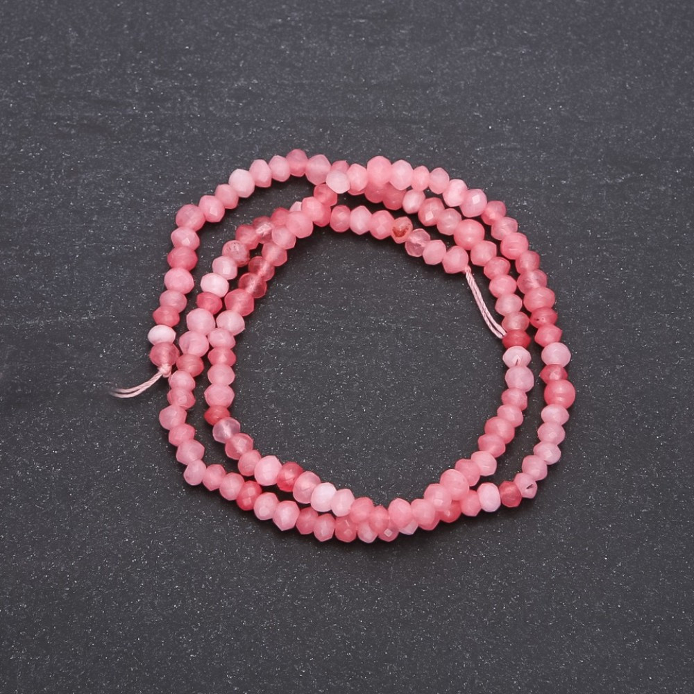 Бусины из натурального камня Кварц тоннированный розовый граненный рондель, диаметр 4х3мм нитка, длина 38см
