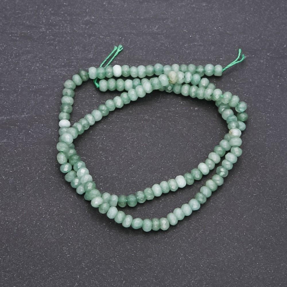 """Бусины из натурального камня искусственный """"Нефрит"""" граненный рондель, диаметр 4х3мм нитка, длина 38см"""