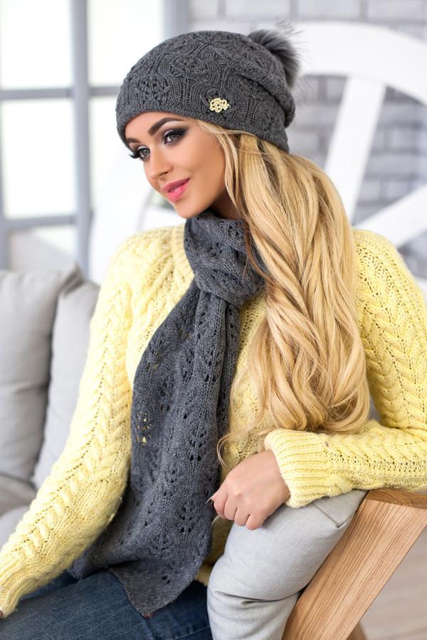 Комплект BRAXTON  «Мэрис» (шапка + шарф) 4450-10 темно-серый
