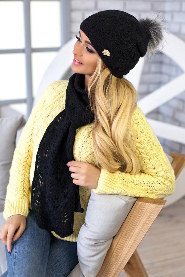 Комплект BRAXTON  «Мэрис» (шапка + шарф) 4450-10 черный