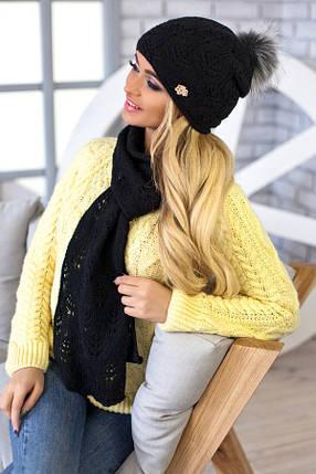 Комплект BRAXTON  «Мэрис» (шапка + шарф) 4450-10 черный, фото 2