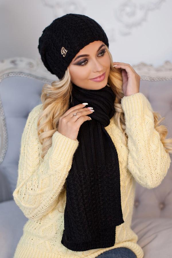 Комплект BRAXTON  «Коссандра» (шапка + шарф) 4456-10  черный