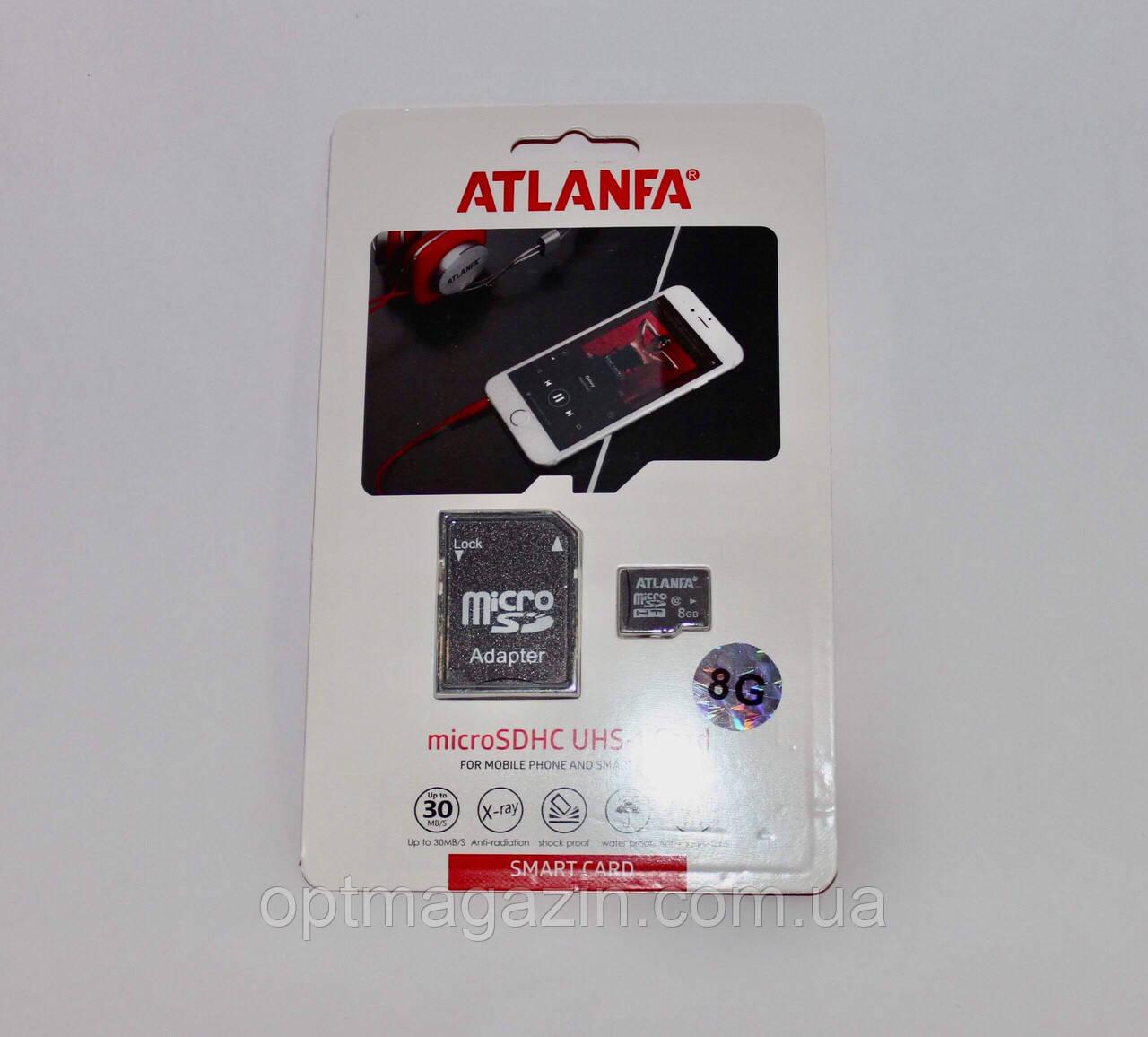 "Карта памяти 8Gb. MicroSD Atlanfa 8GB ""ОРИГИНАЛ"" - Premium"