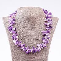 Ожерелье из натурального камня Аметист бусины кристаллы, диаметр 6х18 (+-)мм, длина 50см