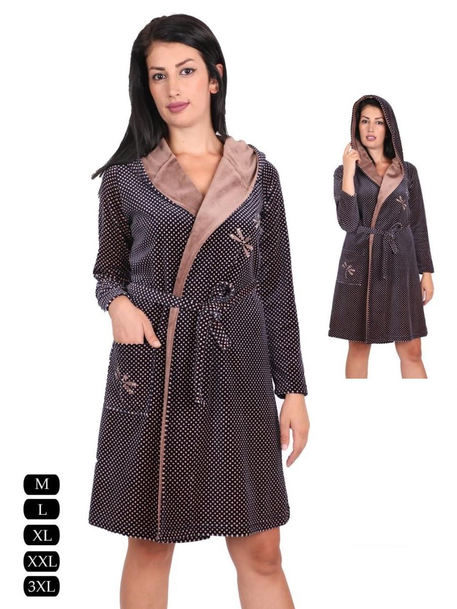 Модный короткий велюровый халат на запах