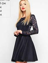 Женское замшевое расклешенное платье с гипюровыми рукавами (3017/2 lp), фото 3