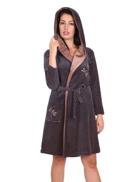купить в Украине Модный короткий велюровый халат на запах