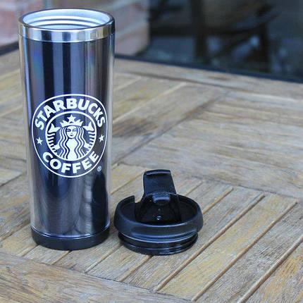 Термокружка Starbucks Coffee с пластмассовой крышкой-поилкой 420 мл, фото 2