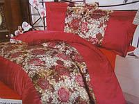 Атласный постельный комплект на двуспальную кровать красного цвета