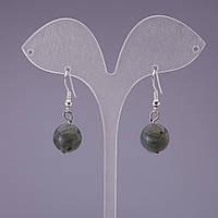 Серьги натуральный камень Лабрадор шарик, диаметр 12мм, длина 3,2см