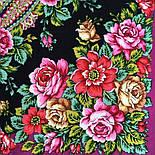 Город роз 1825-8, павлопосадский платок шерстяной  с шелковой бахромой, фото 7