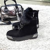 Ботинки женские зимние из натуральной замши и натурального меха на платформе черные 41