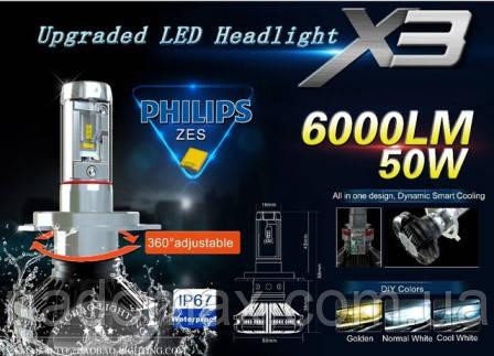 Комплект LED ламп для автомобиля  X3-H7 6000LM 50W