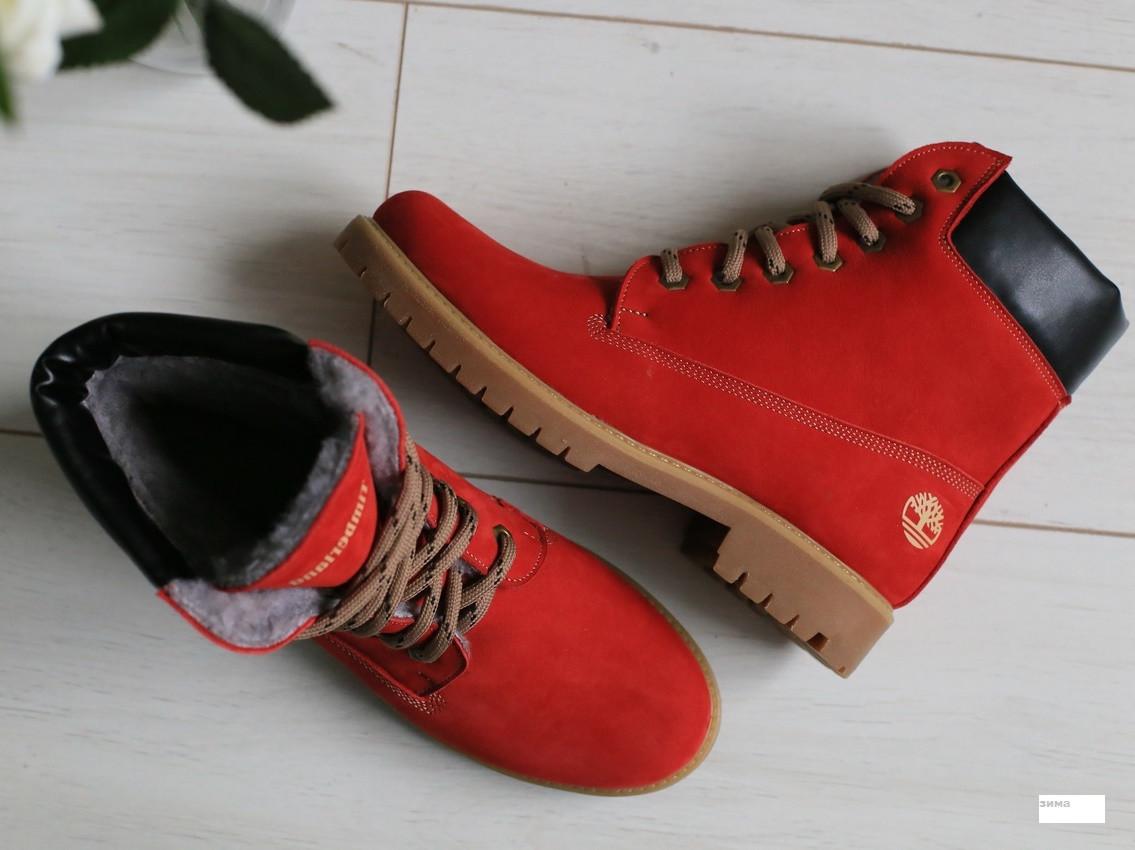 739c6e9d ... Timberland красные зимние ботинки женские полусапожки на низком ходу со шнуровкой  платформа Е28EС21IK, фото 6