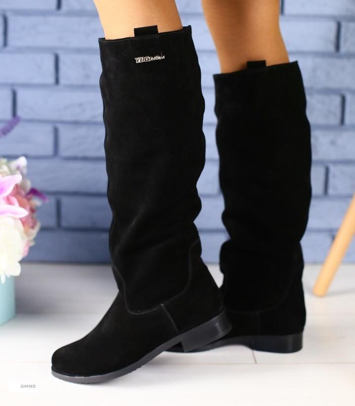 7ac2b3116ba2 Модные высокие женские сапоги замшевые зимние на низком ходу квадратный  каблук ...