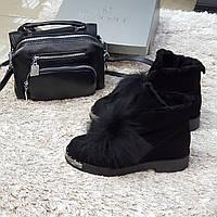Ботинки женские зимние из натуральной замши и натурального меха на платформе черные 38