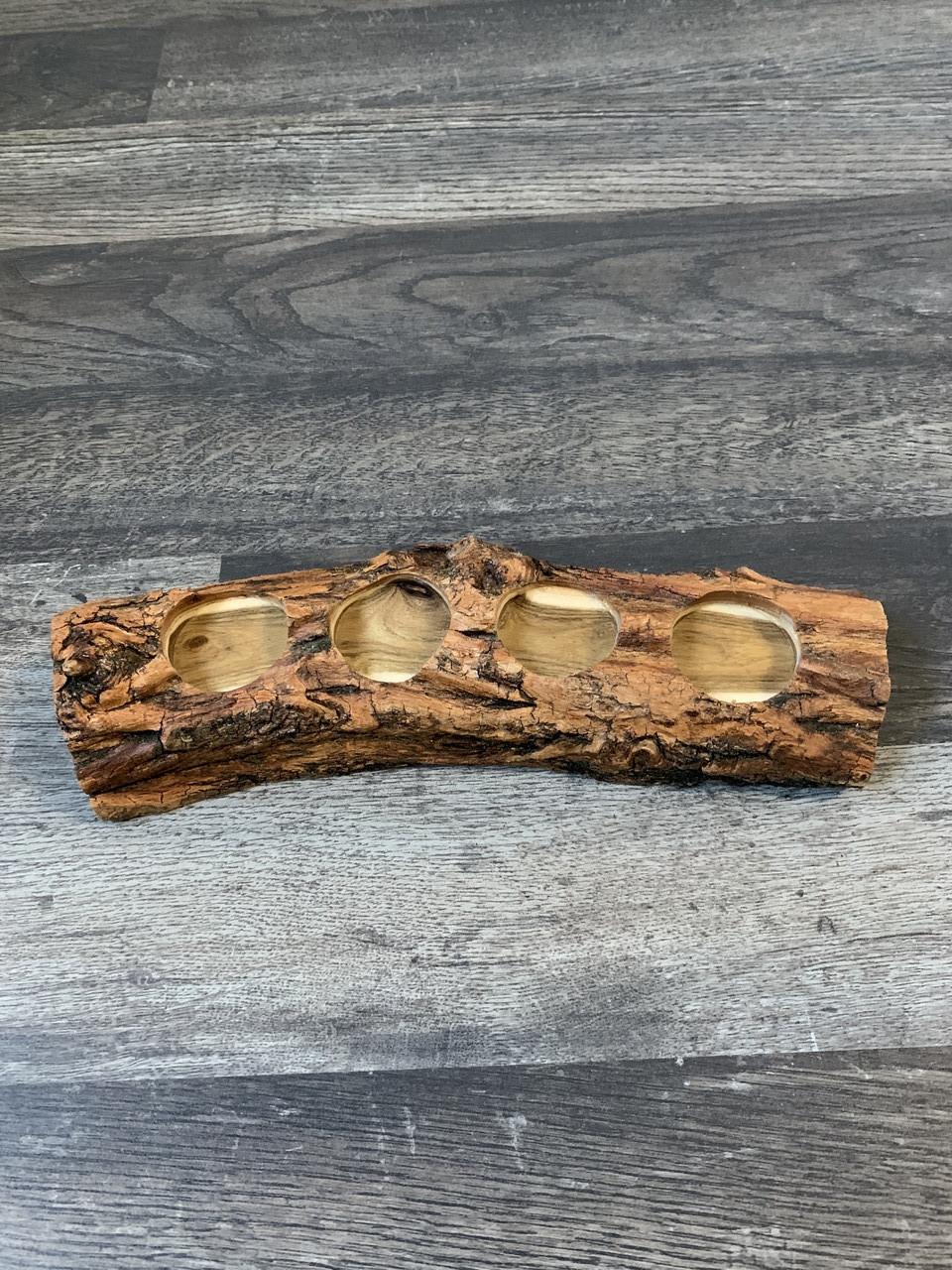 Деревянный Дегустационный сет для 4-х рюмок бревно