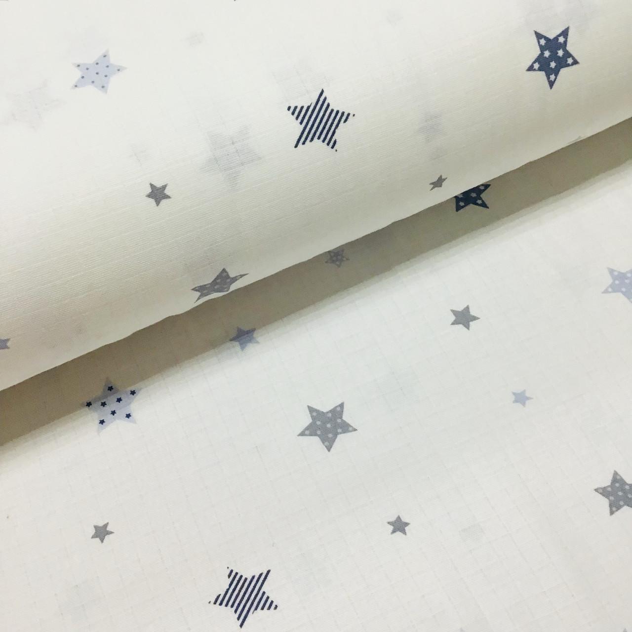 Ткань муслин Двухслойная звезды серо-голубые на белом (шир. 1,6 м)
