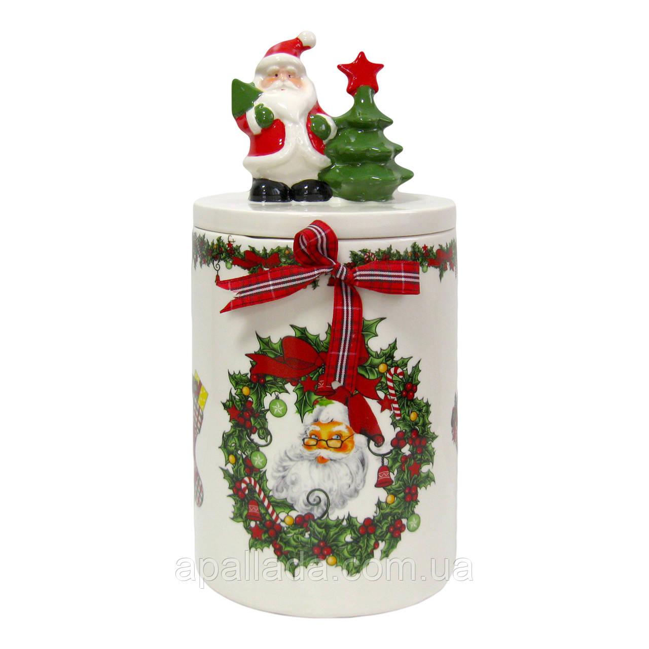 Банка керамическая для хранения сладостей 33х15см Санта с елкой