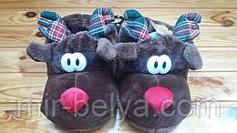 Тапочки тапки домашние мужские прикольные игрушки новогодний олень
