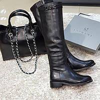 Ботфорти чоботи жіночі зимові, натуральна шкіра, натуральне хутро на плоскій підошві чорні