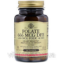 Solgar, Фолієва кислота, 400 мкг, 250 таблеток (Фолат, 666 мкг DFE)