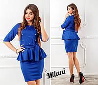 Женский стильный нарядный костюм юбка и баска с бусинками (французский трикотаж) 2 цвета