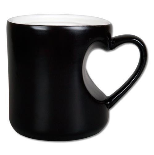 Чашка для сублимации хамелеон корпус сердце ПОЛУМАТОВЫЙ 300 мл (черный)