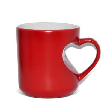 Чашка для сублимации хамелеон корпус сердце ПОЛУМАТОВЫЙ 300 мл (красный)
