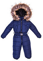 Детский зимний комбинезон Малыш с пушком 12-18 месяцев синий, фото 1