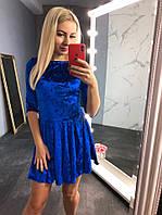 Новинка 2018-2019! Бархатное, женское мини-платье с расклешенной юбкой РАЗНЫЕ ЦВЕТА, фото 1