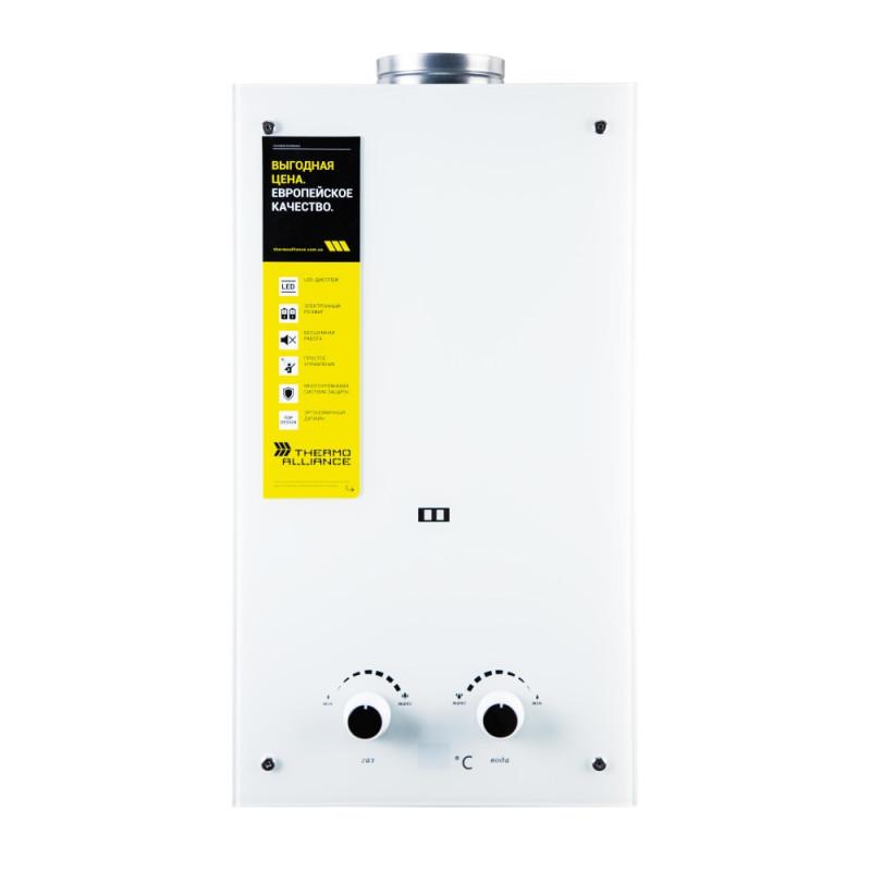 Колонка газовая дымоходная Thermo Alliance JSD20-10GE 10 л стекло (белое)