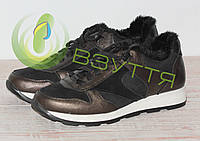 Шкіряні зимові жіночі кросівки арт 24745 бронза розміри 38,39,41, фото 1