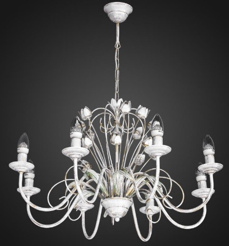 Люстра флористика свечи 8 ламп AR-004603 светлая