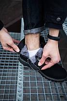 Ботинки мужские на меху Боноут Фешн черные с бордовой надписью, фото 2