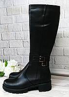 Черные кожаные сапоги на платформе. Обувь Днепр.