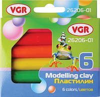 Пластилин VGR круглый 6 цветов, 100 грамм
