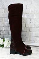 Замшевые бордовые ботфорты. Обувь Украина, фото 1