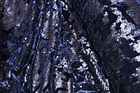 Бархат(велюр) стрейч есть. расшит паетками. темносиний, тканевая основа!, фото 1