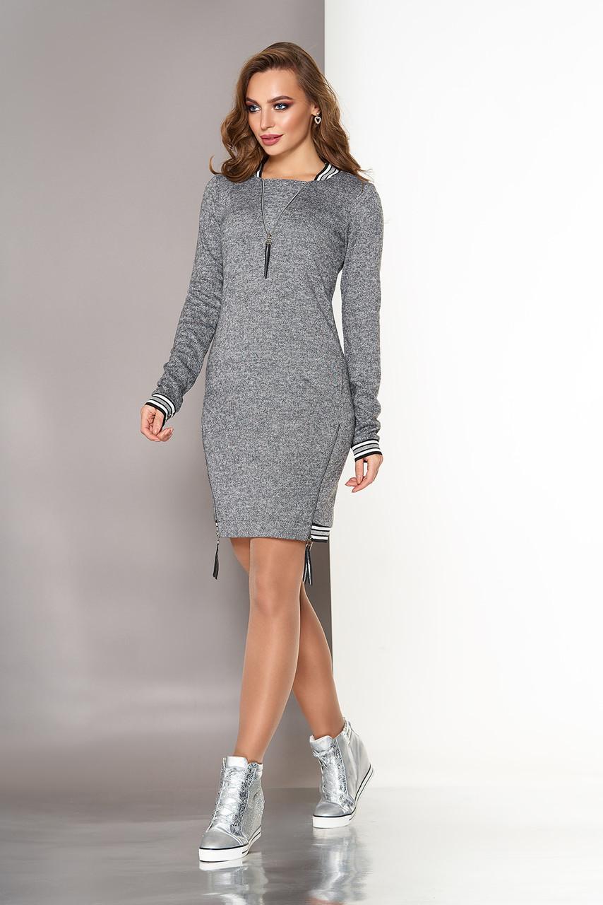 Платье в спортивном стиле из ангоры cерое