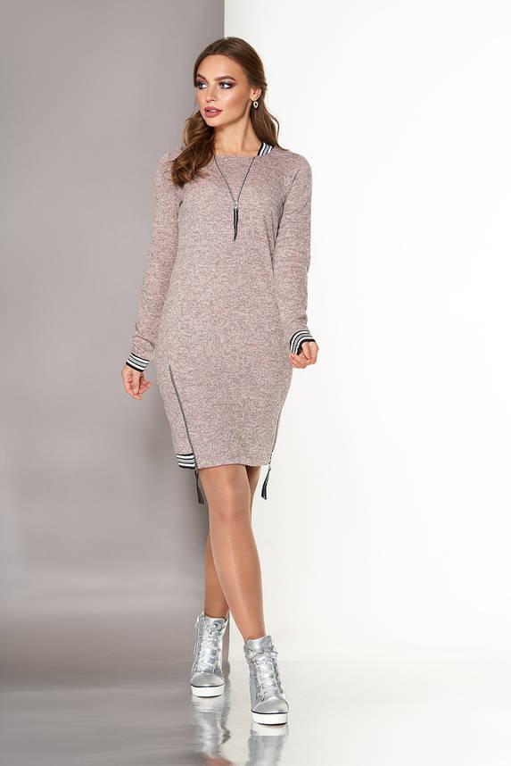 Платье спортивного стиля из ангоры персиковое, фото 2