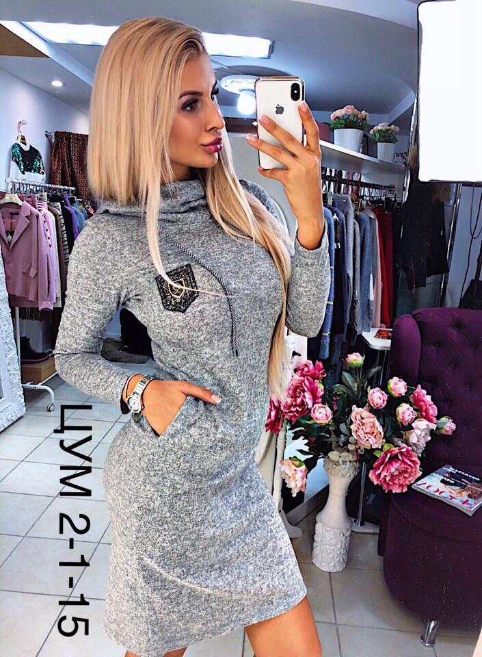 f2d9066c271 Женское стильное очень тёплое из ангоры мини платье с капюшоном и карманами  Ткань ангора софт