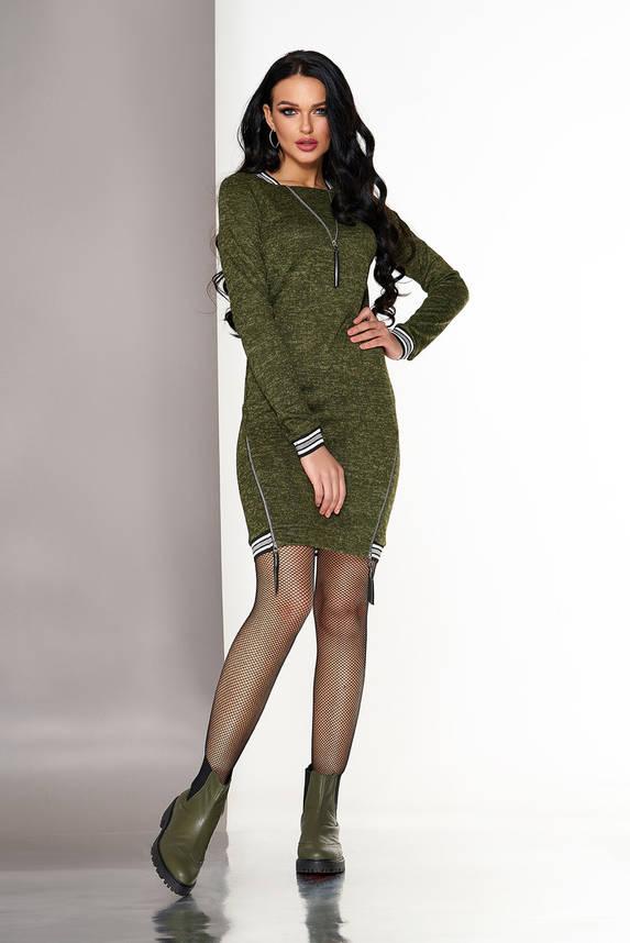 Платье в спортивном стиле из ангоры хаки, фото 2