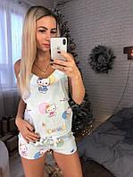 Новинка 2018-2019!Хлопковый, женский, домашний костюмчик: майка и шортики РАЗНЫЕ ЦВЕТА , фото 1