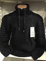 Теплый мужской свитер с шалевым воротником M,L,XL