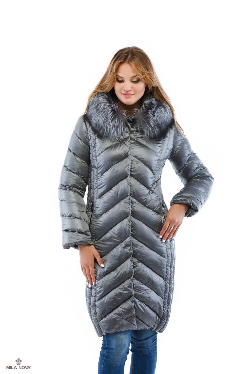 Зимний пуховик серый